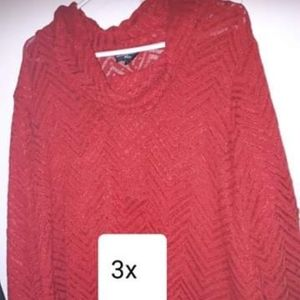 Tops - Red turtleneck   long sleeve  size 3x